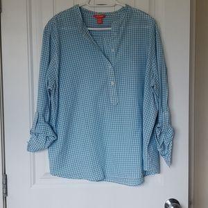 Turquoise gingham long sleeve blouse